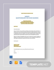 Survey Questionnaire for Food Business Template