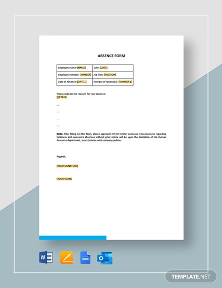 Absence Form Template