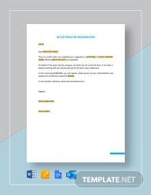 Acceptance of Resignation Template