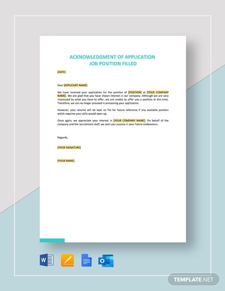 Acknowledgment of Application Job Position Filled