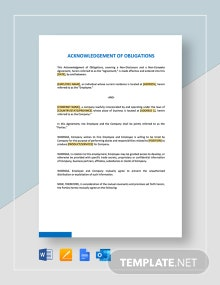 Acknowledgment Of Obligations Template