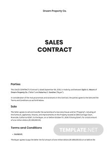 Sample Sales Contract Template