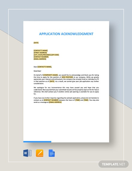 Application Acknowledgment Template