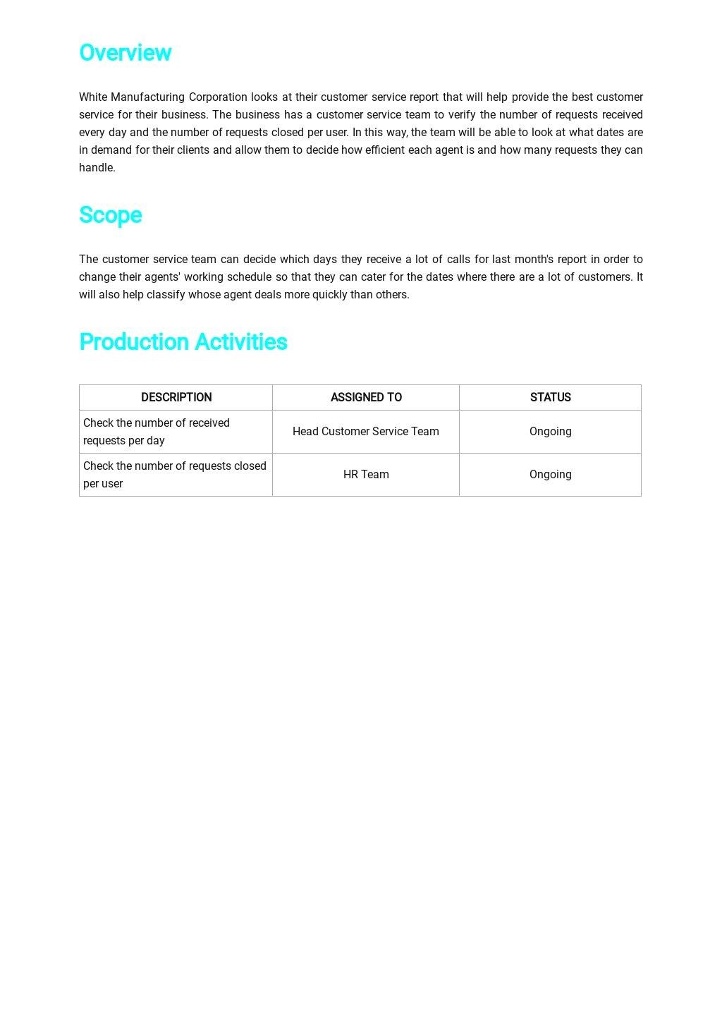 Simple Customer Service Report Template [Free PDF] - Google Docs, Word