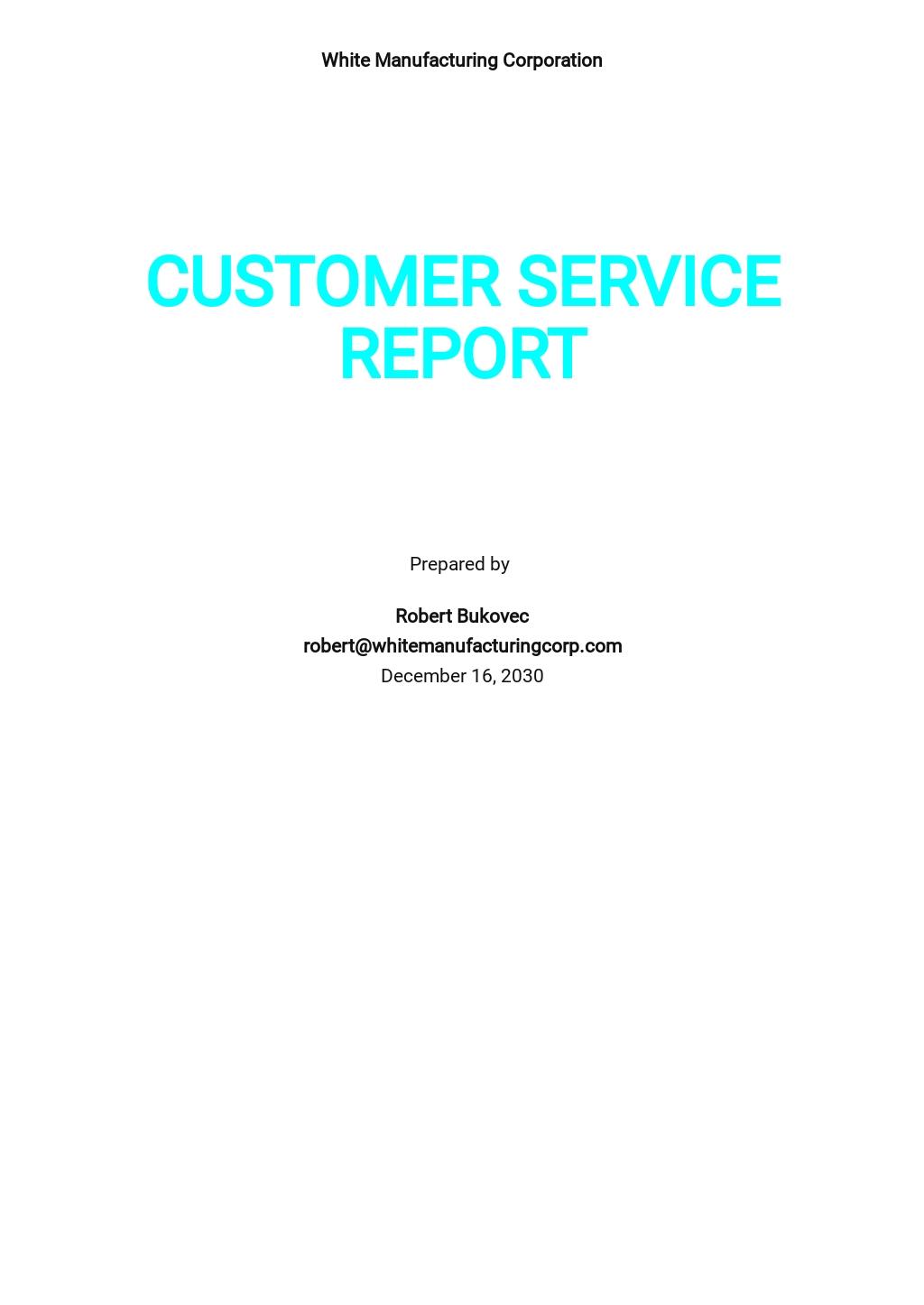 Simple Customer Service Report Template