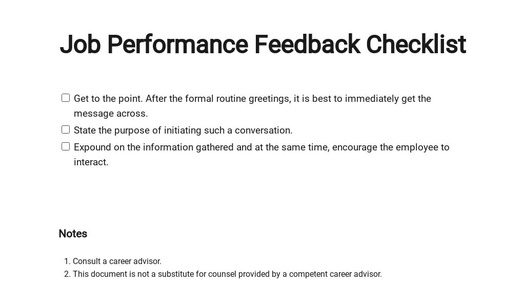 Checklist Giving Job Performance Feedback Template