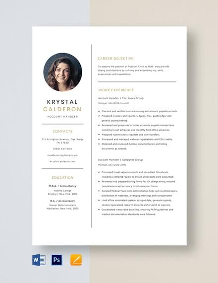 Account Handler Resume Template