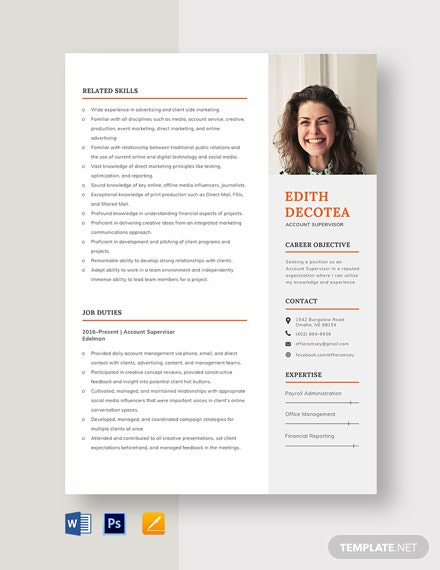 Account Supervisor Resume Template