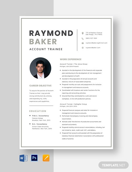 Account Trainee Resume Template