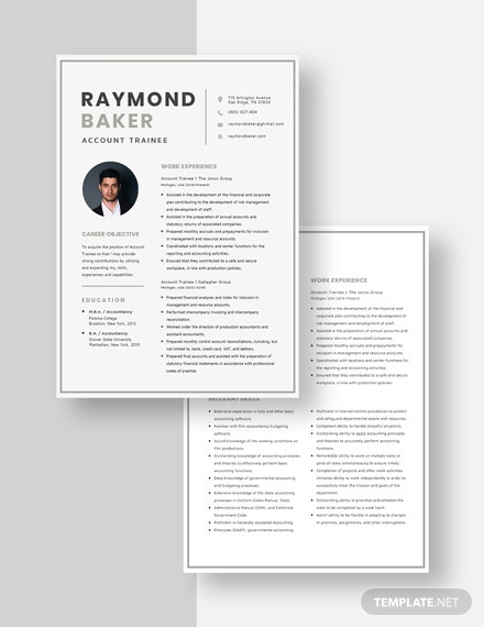 Account Trainee Resume Download