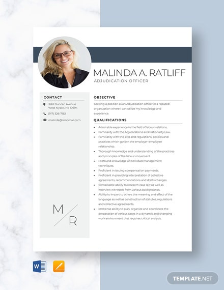 Adjudication Officer Resume Template