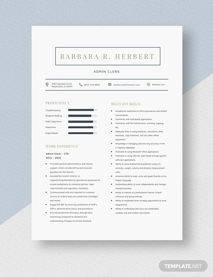 Admin Clerk Resume Template
