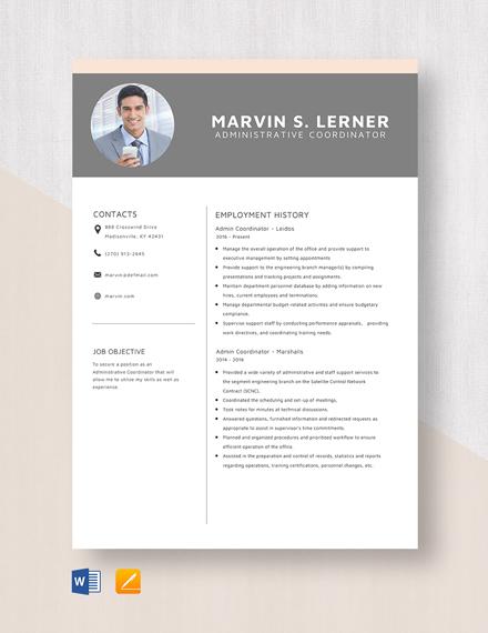 Admin Coordinator Resume Template