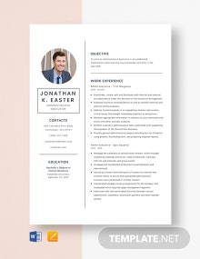 Admin Executive Resume Template
