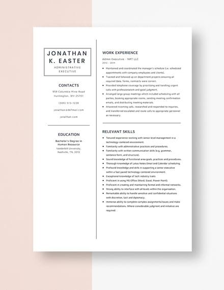 Admin Executive Resume Template