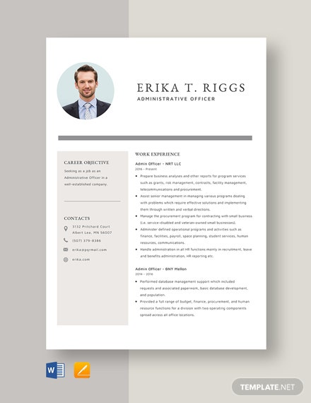Admin Officer Resume Template
