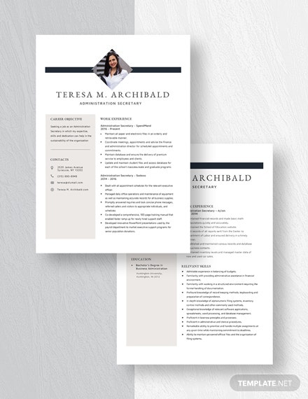 Administration Secretary Resume Download