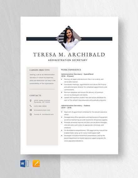 Administration Secretary Resume Template