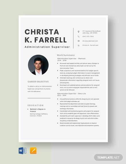 Administration Supervisor Resume