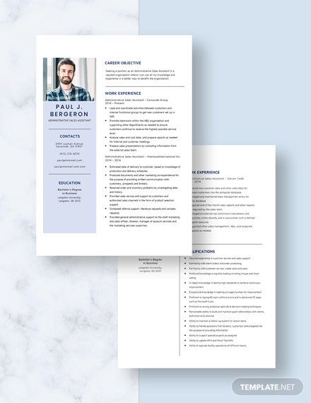 Administrative Sales Assistant Resume Download