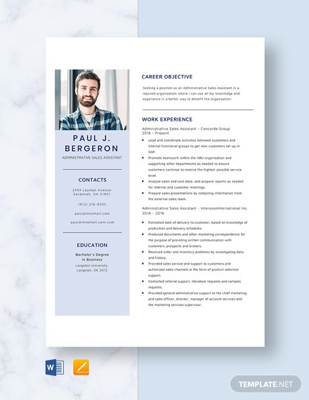 Administrative Sales Assistant Resume Template