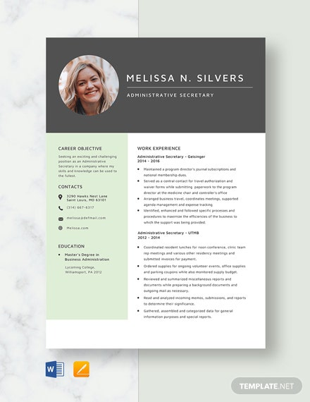 Administrative Secretary Resume Template