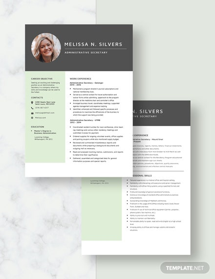 Administrative Secretary Resume Download