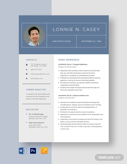 Anesthetic Nurse Resume Template
