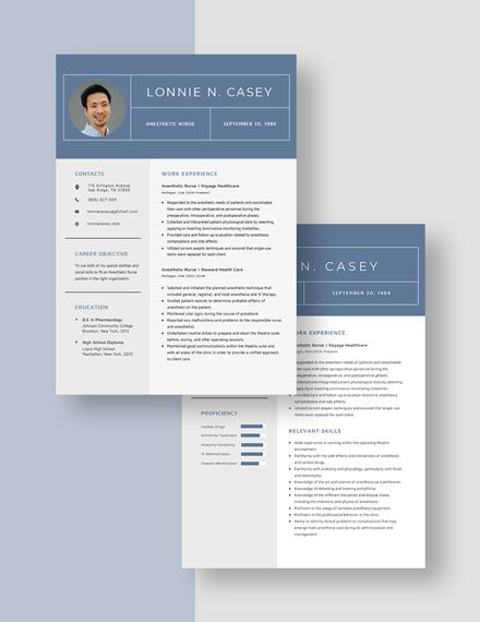 Anesthetic Nurse Resume Download