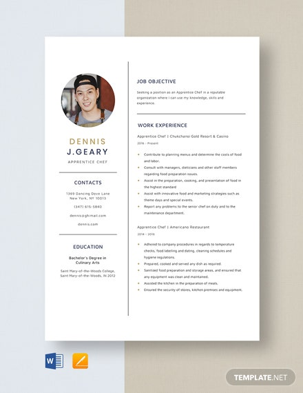 Apprentice Chef Resume Template
