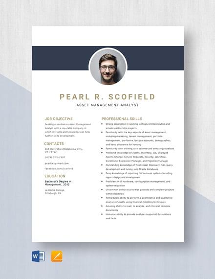 Asset Management Analyst Resume