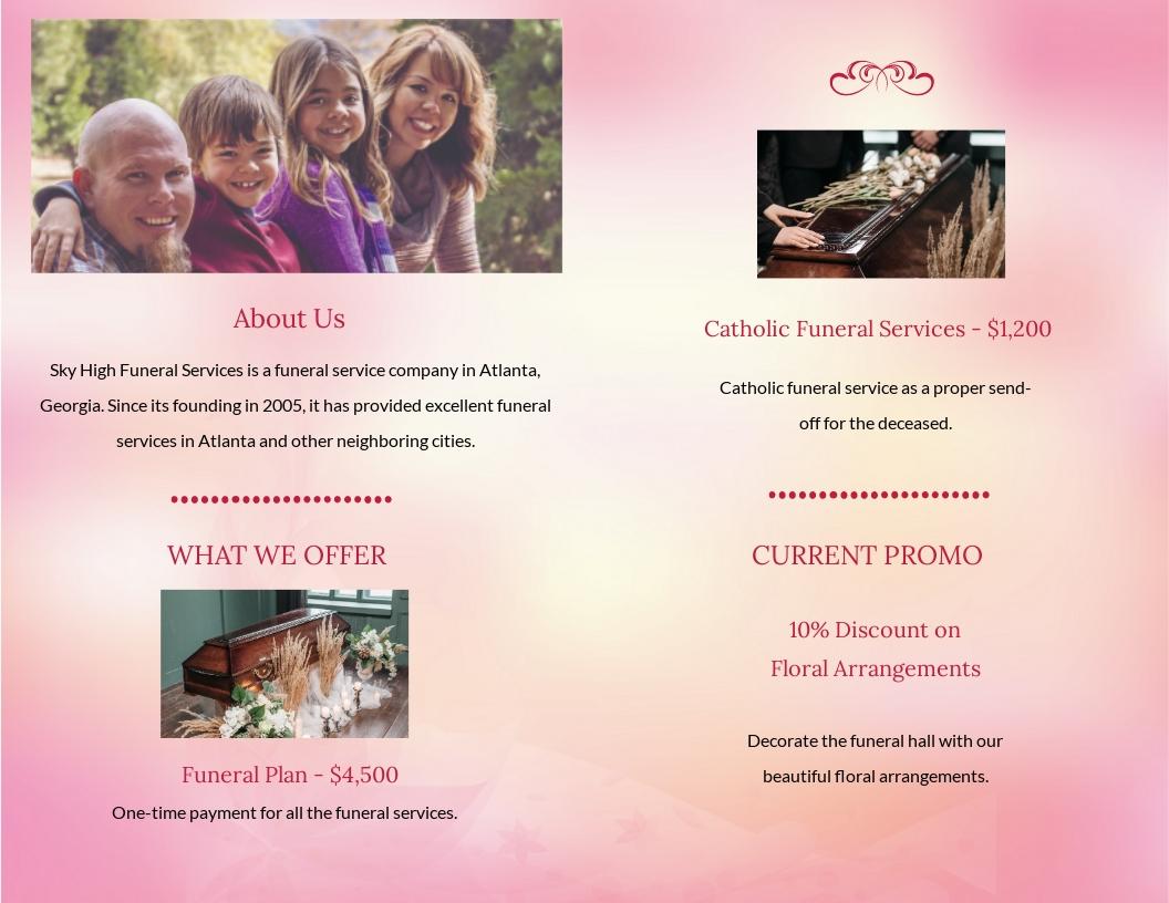 Catholic Funeral Bi-fold Brochure Template [Free JPG] - Illustrator, InDesign, Word, Apple Pages, PSD