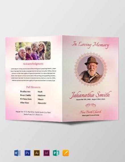 Free Catholic Funeral Bi-fold Brochure Template