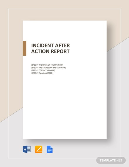 After Action Incident Report Template