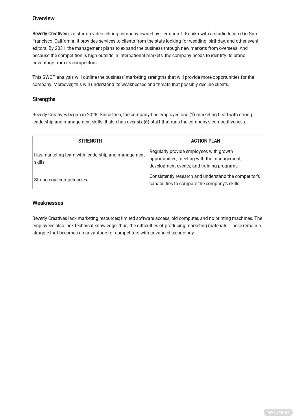 SWOT Analysis for Marketing Template 1.jpe