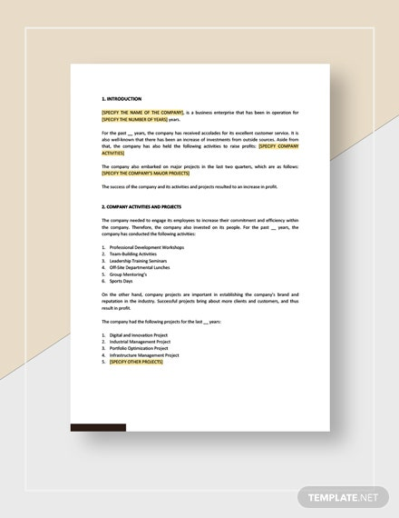 Management Report To Board of Directors Download