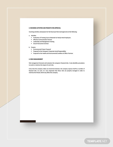 Sample Management Report To Board of Directors