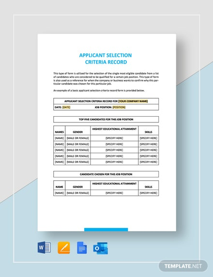 Sample Applicant Selection Criteria Record Template