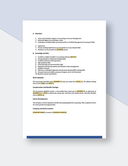 General Accountant Job Description Template