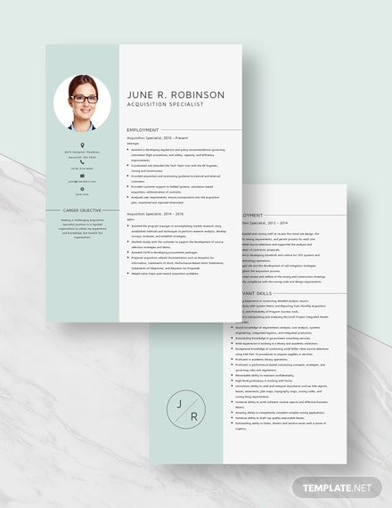 Acquisition Specialist Resume Download