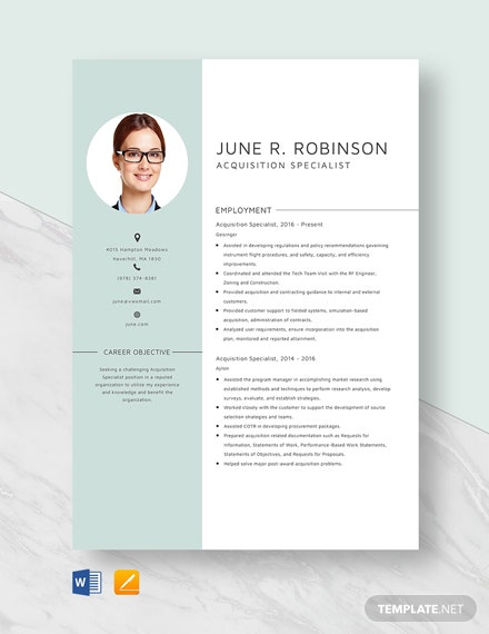 Acquisition Specialist Resume Template