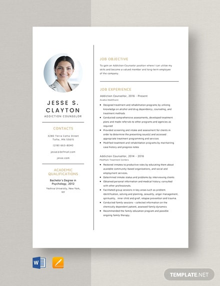 Addiction Counsellor Resume Template