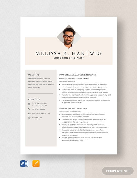 Addiction Specialist Resume Template