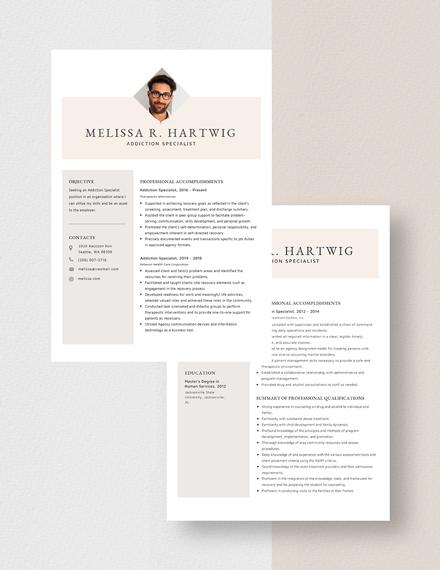 Addiction Specialist Resume Download