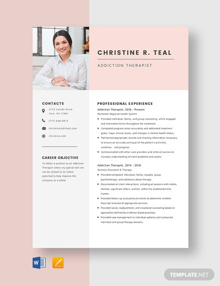 Addiction Therapist Resume Template