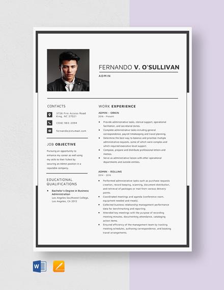 Admin Resume Template