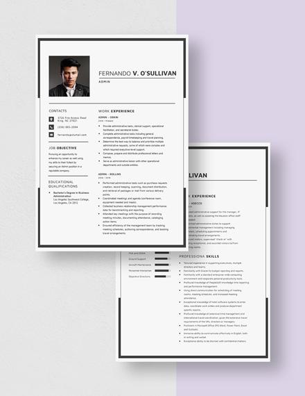Admin Resume Download