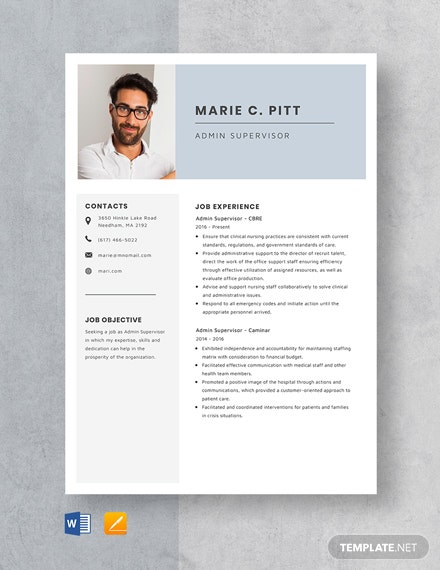 Admin Supervisor Resume Template