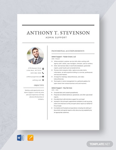 Admin Support  Resume Template