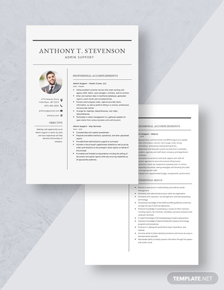 Admin Support Resume Download